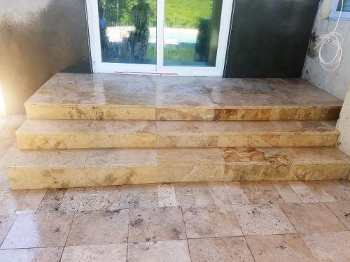 steps coverd with travertine after 21