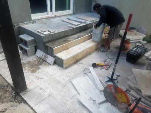steps coverd with travertine before 21